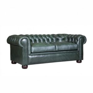 CHESTERFIELD IN GREEN LEATHER