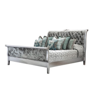 SLEIGH BED KING SIZE XL SILVER