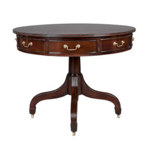DRUM TABLE DOWNWARD SWEPT LEG MAHOGANY