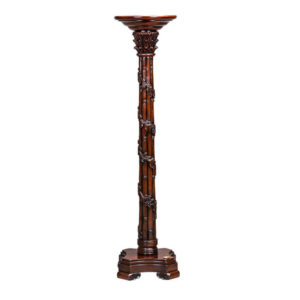 BAMBOO CARVED TORCHERE MAHOGANY