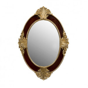 BEDSIDE OVAL MIRROR SMALL PARTIAL GOLD