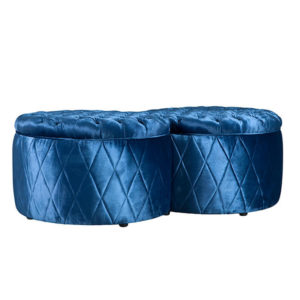 BEAN OTTOMAN WITH MIRROR DIAMOND BUTTONED 5MTS MT FABRIC