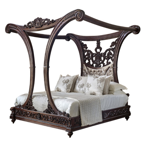 Chanelle Bed 8mts Fabric Diamond Buttoned Mahogany