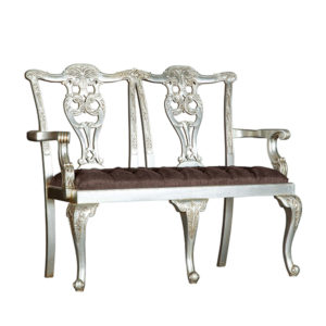 CHIPPENDALE 2 SEATER SILVER