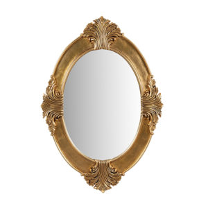 Bedside Oval Mirror Small Gold
