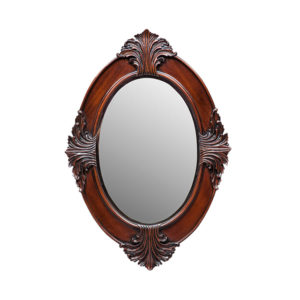 Bedside Oval Mirror Small Mahogany