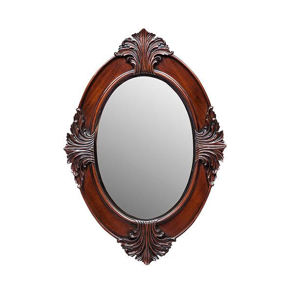 Bedside Oval Mirror Small Mahogany