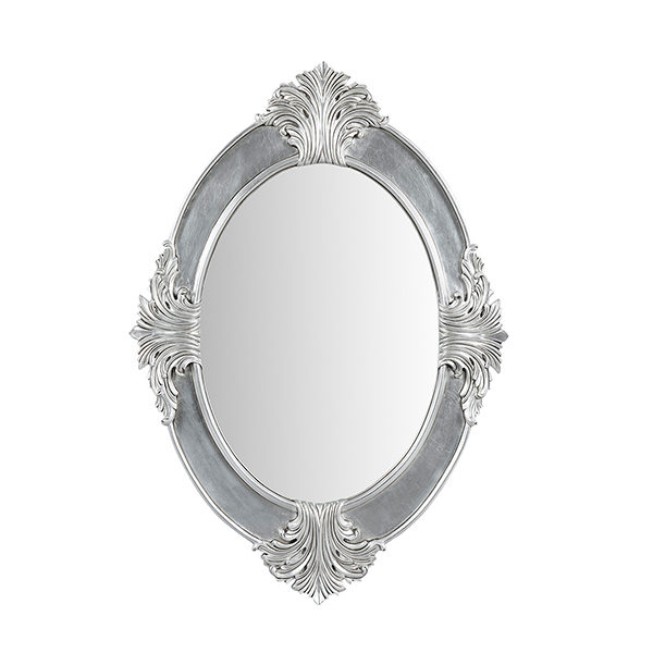 Bedside Oval Mirror Small Silver